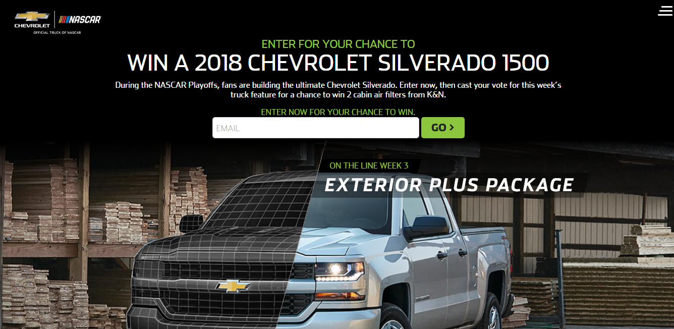 Nascar chevy truck giveaways