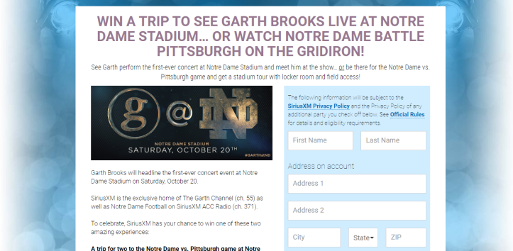 SiriusXM Garth Brooks At Notre Dame Sweepstakes – Win Trip